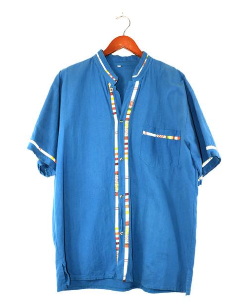 Short Sleeve Mandarin Collar Shirt with Embroidery Detail