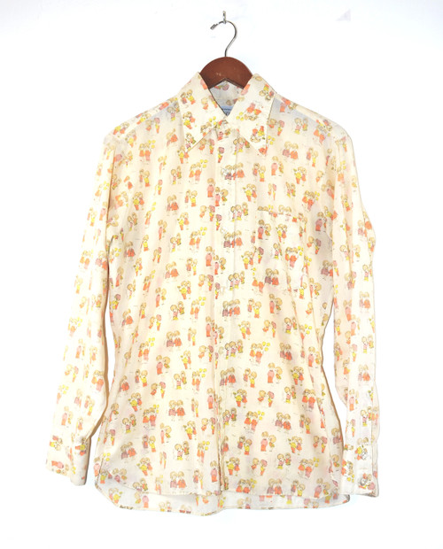 Graphic Printed Poly Blend Button Up Shirt
