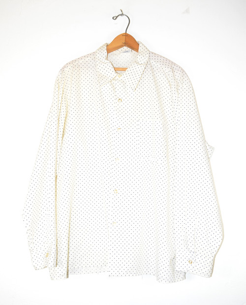 Long Sleeve Poly Blend Dot Pattern Shirt