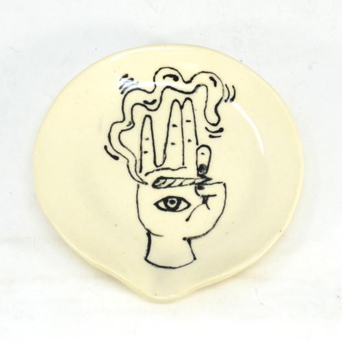 White Ceramic Ashtray w/ hand design