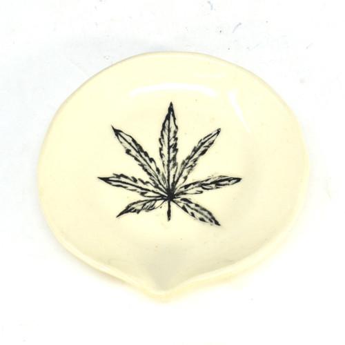 White Ceramic Ashtray w/ leaf design