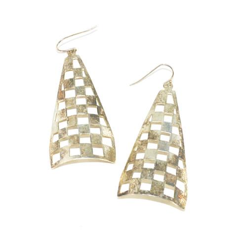 Sterling Silver Checker Grid Triangle Dangle Earrings