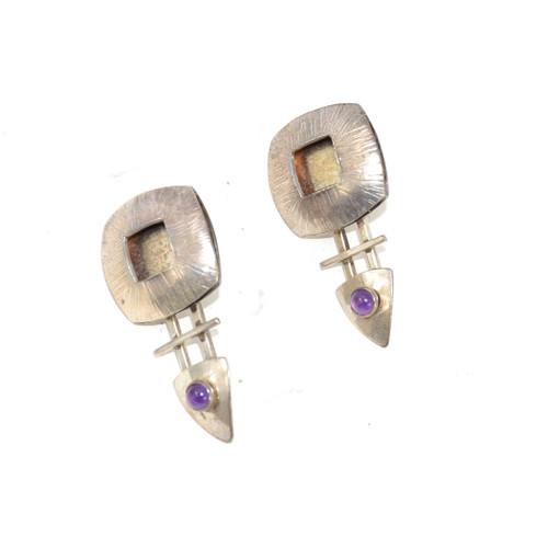 Sterling Silver Geometric Post Earrings with Amethyst