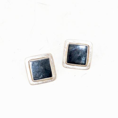 Sterling Silver Onyx Bezel Set Stud Earrings