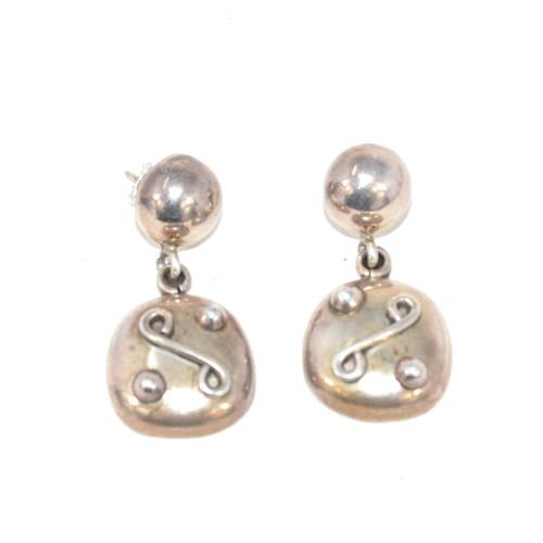 Sterling Silver Soft Geometric Pattern Drop Earrings