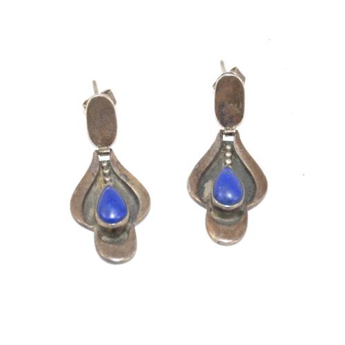 Sterling Silver Pear Lapis Lazuli Drop Earrings