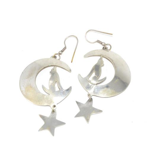 Sterling Silver Wolf Howling Moon Drop Earrings
