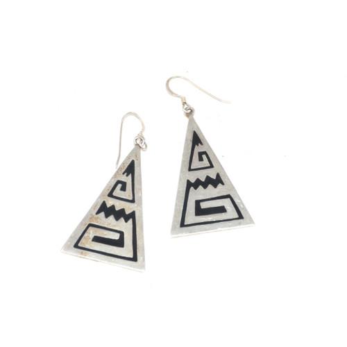 Sterling Silver Geometric Mountain Drop Earrings