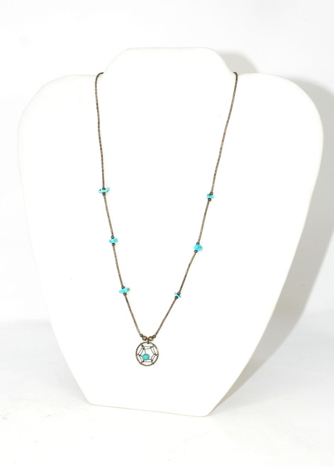 Dream Catcher Necklace with Turquoise Beads