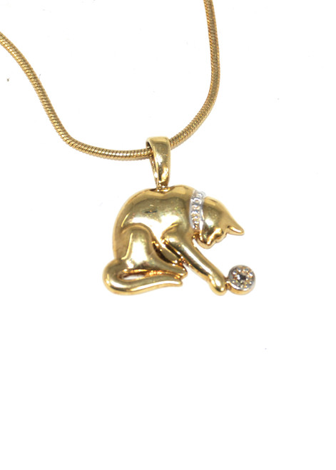 Gold Plated Cat Necklace with Cubic Zirconia