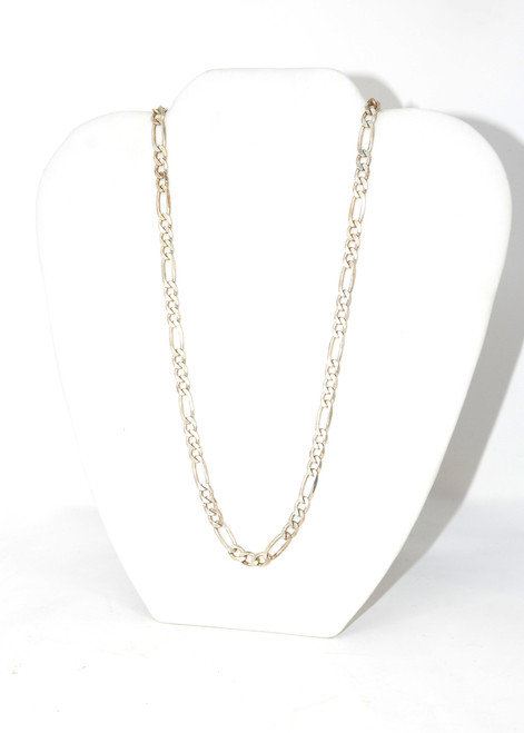 Sterling Silver Figaro Flat Chain Necklace