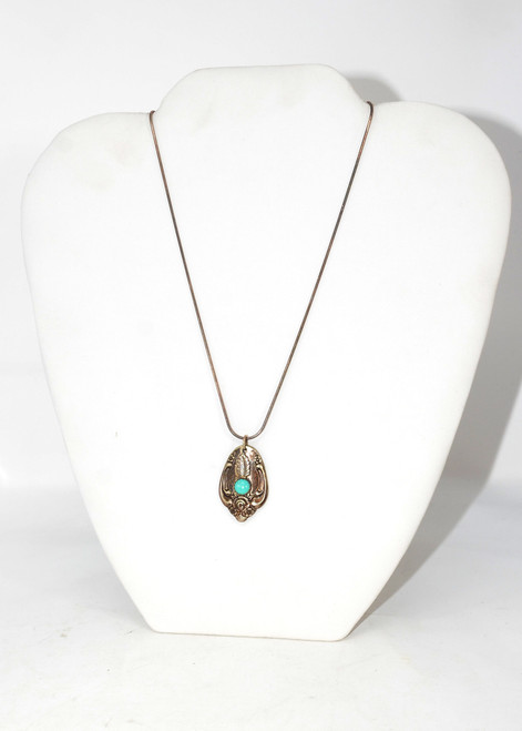 Sterling Silver Spoon Pendant with Turquoise Cabochon