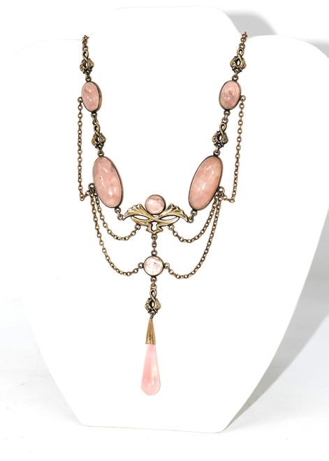 Sterling Silver 1920's/30's Rose Quartz Art Deco Necklace