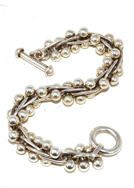 Sterling Silver Silpada DNA Ball Bead Bracelet
