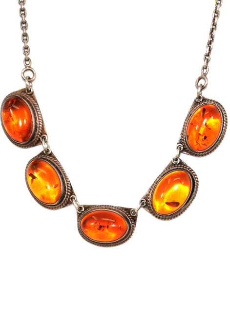 Sterling Silver Necklace with Amber Cabochons
