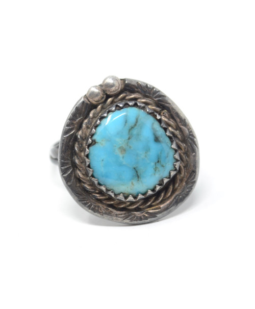 Vintage Bisbee Turquoise Navajo Style Sawtooth Bezel Setting Sterling Silver Ring Size 7