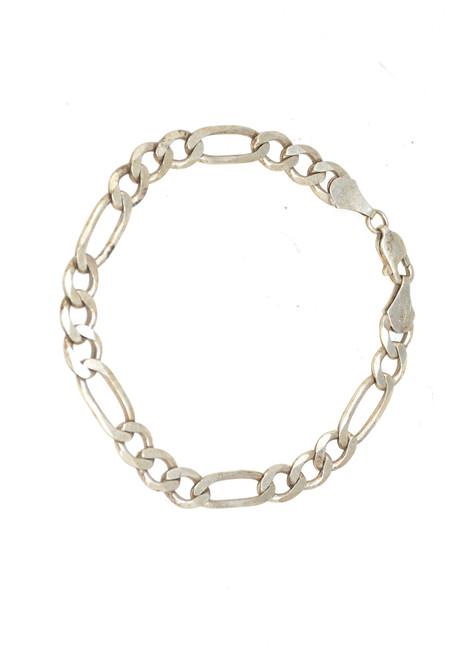 Sterling Silver Figaro Flat Chain Bracelet
