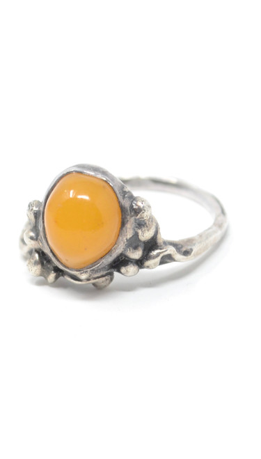 70's Butterscotch Amber Brutalist Style Sterling Silver Ring Size  7.5