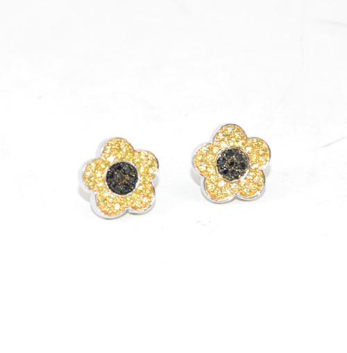 Sterling Bedazzled Flower Earrings