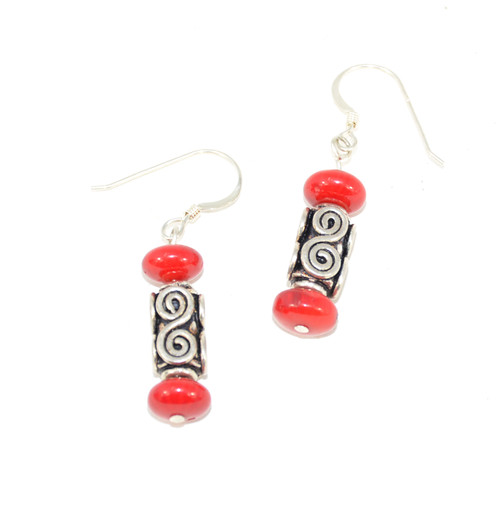 Sterling Dangle Earrings with Red Beads