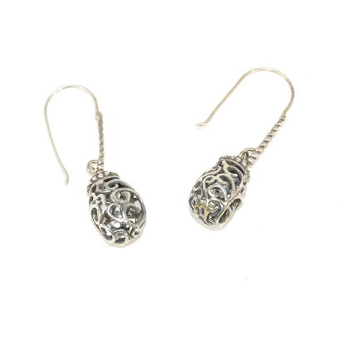 Sterling Hallow Ornate Dangle Earrings