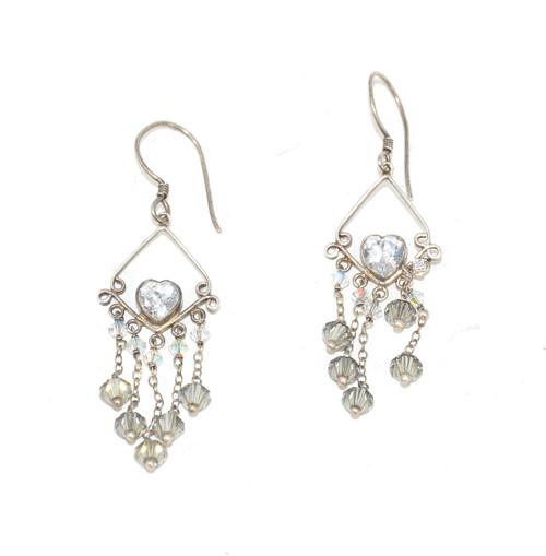 Sterling Dangling Heart Cubic Zirconia Earrings