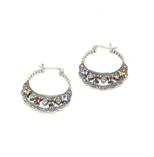 Sterling Colorful Cubic Zirconia Earrings