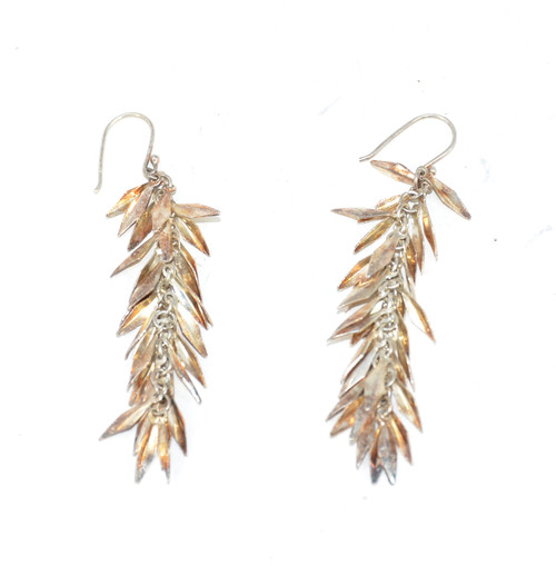 Sterling Dangling Feathered Earrings