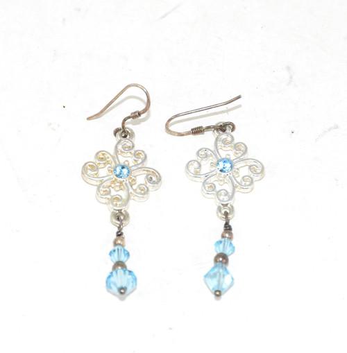 Sterling Dangling Blue Cubic Zirconia Earrings