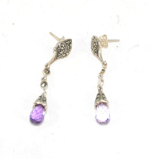 Dangling Purple Cubic Zirconia Earrings