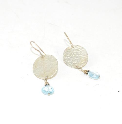 Sterling Disk Earrings w/ Blue Cubic Zirconia