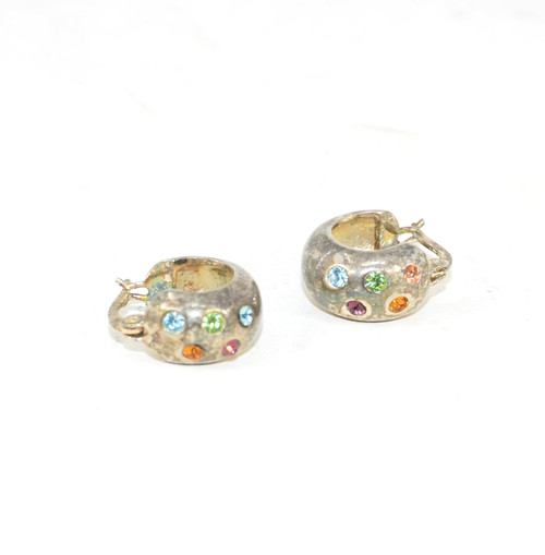 Streling Colorful Clasp Earrings