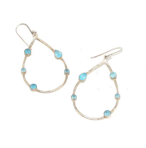 Sterling Blue Cubic Zirconia Dangle Earrings