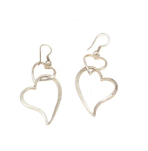 Sterling Two Heart Dangle Earrings