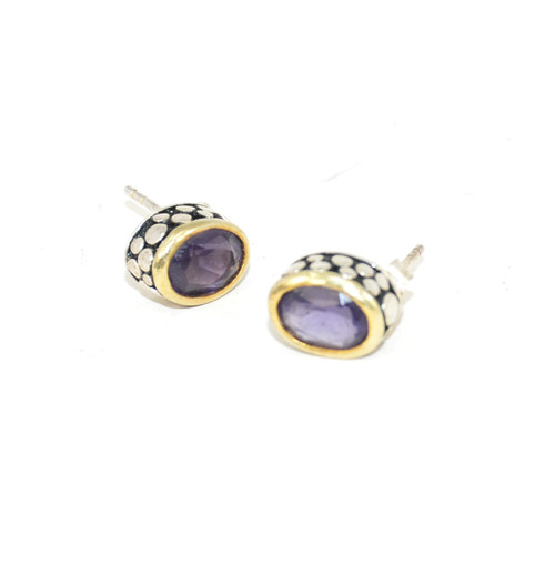 Sterling Purple Cubic Zirconia Studs