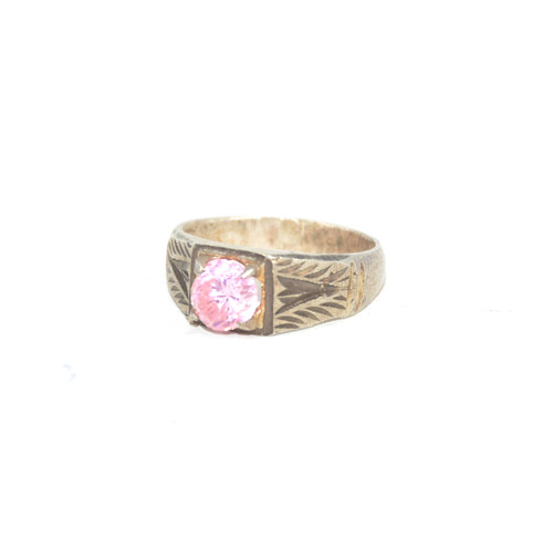 Sterling Silver Solitaire Pink Cubic Zirconia Ring