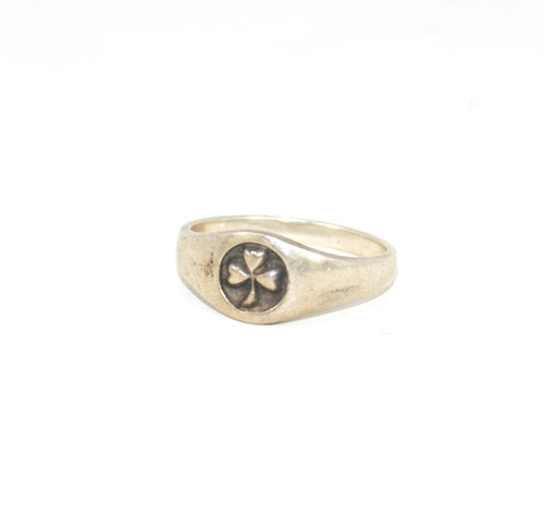 Sterling Silver Three Leaf Clover Signet Ring