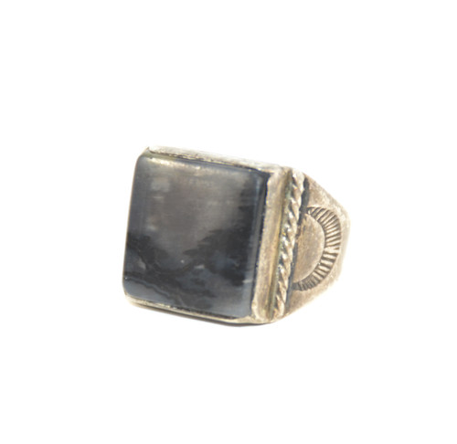 Sterling Silver Square Black and Grey Agate Signet Ring