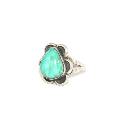 Sterling Silver Organic Turquoise Split Shank Ring