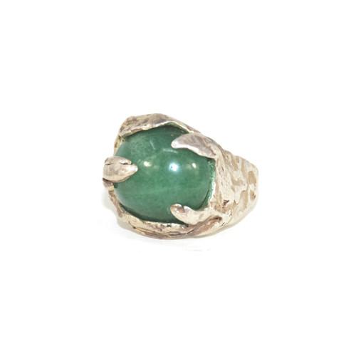 Sterling Silver Organic Leaves Green Aventurine Ring