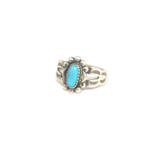 Sterling Silver Bell Trading Post Turquoise Floral Ring