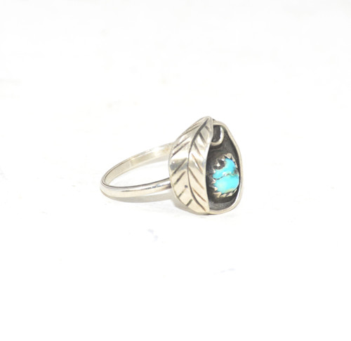 Sterling Silver Leaf and Turquoise Ring