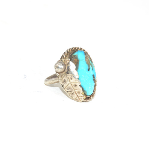 Sterling Silver Southwest Style Turquoise Leaf Ring
