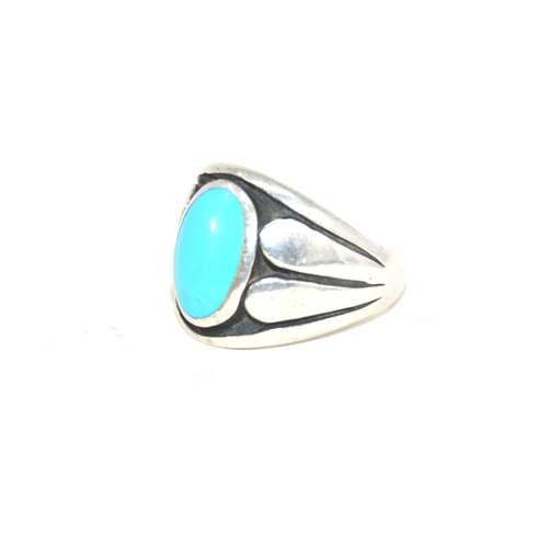 Sterling Silver Southwest Turquoise Signet Ring