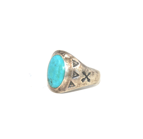 Sterling Silver Native American Turquoise Arrow Ring