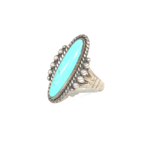 Sterling Silver Bell Trading Post Turquoise Solitaire Ring