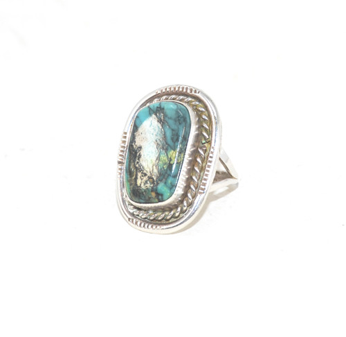 Sterling Silver Natural Turquoise Plate Split Shank Ring