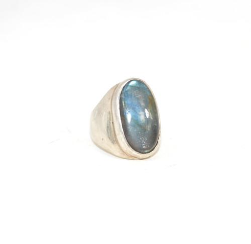 Sterling Silver Labradorite Cabochon Signet Ring