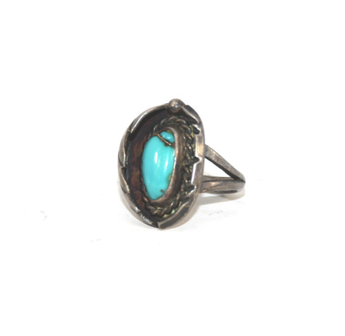 Sterling Silver Southwest Leaf and Rope Turquoise Ring