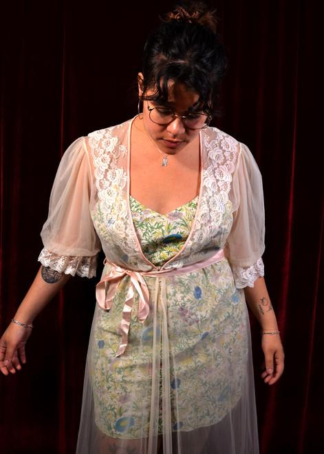 Sheer Lace Trim Robe